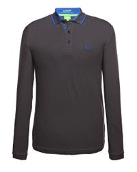 BOSS Green | Gray 'pleesy' | Slim Fit, Stretch Cotton Blend Polo for Men | Lyst
