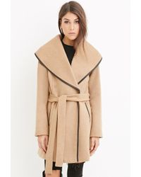 Forever 21 - Natural Contemporary Belted Wool-blend Coat - Lyst