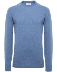 Jules B - Blue Crew Neck Lambswool Sweater for Men - Lyst