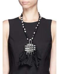 Lanvin - Black Taffeta Ribbon Faux Pearl Necklace - Lyst