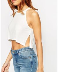 ASOS - Natural Crop Top In Rib With Side Splits - Lyst