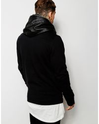 ASOS - Black Hooded Jacket With Leather Look Trim for Men - Lyst