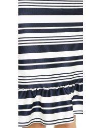 RED Valentino - Blue Striped Trumpet Skirt - Navy - Lyst