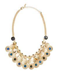 Fragments - Blue Crystal Brushed Disc Mesh Necklace - Lyst