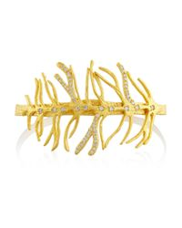 Kevia | Metallic Gold-Plated Crystal Cuff | Lyst