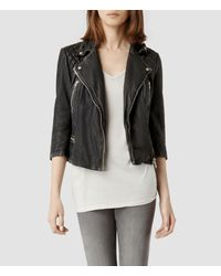 AllSaints | Black Cropped Cargo Leather Biker Jacket | Lyst