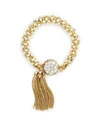 Miriam Haskell - Metallic Crystal Tassel Baroque Pearl Cluster Bracelet - Lyst