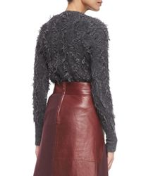 3.1 Phillip Lim - Gray Long-sleeve Fringe Pullover Sweater - Lyst