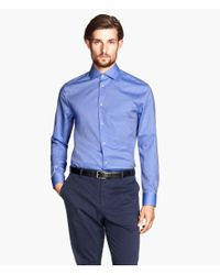 H&M - Blue Shirt In Premium Cotton for Men - Lyst