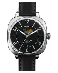 Shinola - Black 'gomelsky' Square Moon Phase Leather Strap Watch - Lyst