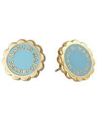 Marc By Marc Jacobs - Blue Enamel Scalloped Logo Disc-o Studs Earrings - Lyst