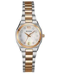 Bulova | Gray Ladies Two Tone Bracelet Watch With Diamond Markers | Lyst