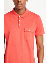 Forever 21 | Orange Slub Knit Polo for Men | Lyst