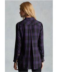True Religion | Purple Georgia Plaid Zip Womens Shirt | Lyst