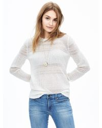 Banana Republic | White Lace-stitch Crew Pullover | Lyst