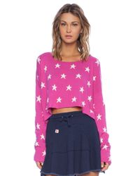 Wildfox | Pink Starlight Cropped Knitted Jumper - For Women | Lyst