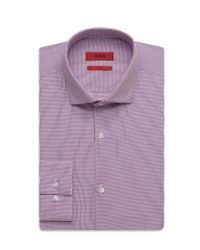 HUGO | Purple 'eastonx ' | Slim Fit, Microplaid Dress Shirt for Men | Lyst