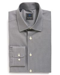 David Donahue - Gray Traditional Fit Houndstooth Dress Shirt for Men - Lyst
