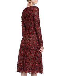 Oscar de la Renta - Red Long-Sleeve Cutout-Lace Dress - Lyst
