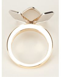 Fendi - Metallic Floral Ring - Lyst