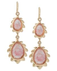 Carolee | Red Gold-tone Cherry Quartz Flower Double Drop Earrings | Lyst
