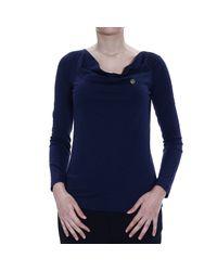 Giorgio Armani | Blue T-shirt Long Sleeves Shawl Collar With Logo | Lyst