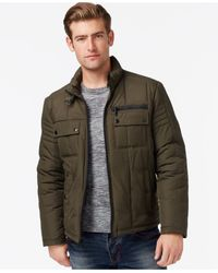 Kenneth Cole - Green Quilted Moto-style Jacket for Men - Lyst