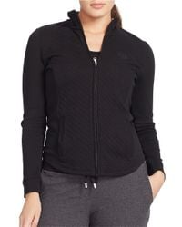 Lauren by Ralph Lauren | Black Plus Diamond-quilted Track Jacket | Lyst