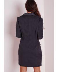 Missguided - Black Long Sleeve Tuxedo Dress Navy - Lyst
