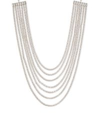 Anne Klein | Metallic Multi-layered 7-strand Silvertone Rhinestone Necklace | Lyst