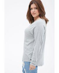 Forever 21 - Gray Plus Size Raglan Knit Top - Lyst
