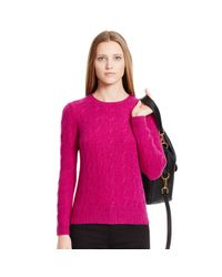 Ralph Lauren Black Label | Purple Cabled Cashmere Crewneck | Lyst