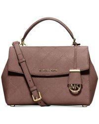 Michael Kors | Pink Michael Ava Cross Stitch Small Satchel | Lyst