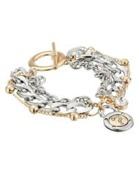 Guess - Metallic Multiple Chain Toggle Bracelet With Logo Charm - Lyst
