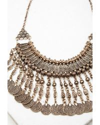 Forever 21 - Metallic Coin Fringe Statement Necklace - Lyst