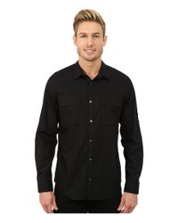 Calvin Klein | Black Poplin Roll-sleeve Woven Shirt for Men | Lyst