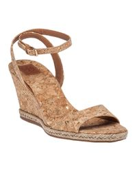 Tory Burch | Natural Marion Cork Wedge Sandals | Lyst
