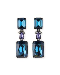 Oscar de la Renta | Blue Crystal Drop Clip Earrings | Lyst