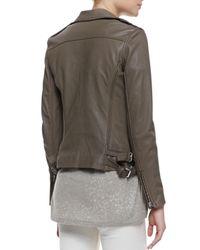 IRO | Gray Tara Front-Zip Leather Jacket | Lyst