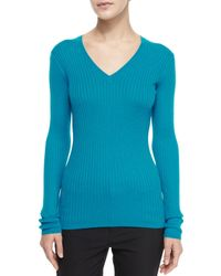 Vince | Blue Ribbed Knit V-neck Sweater | Lyst
