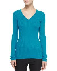 VINCE | Blue Ribbed Knit V-neck Sweater | Lyst