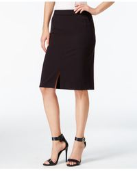 Kensie | Black Front-slit Pencil Skirt | Lyst