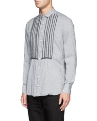 Kolor - Blue Stripe Bib Cotton Shirt for Men - Lyst
