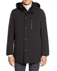 Tumi | Black 'tech-stretch' 3-in-1 Hooded Jacket With Removable Liner for Men | Lyst