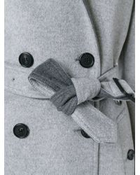 Burberry - Gray Double Breasted Belt Coat - Lyst