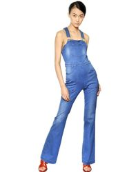 Stella McCartney - Blue Flared Stretch Cotton Denim Jumpsuit - Lyst