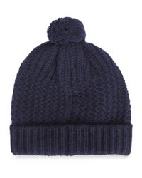 Johnstons - Blue Navy Chunky Knit Lambswool Blend Beanie - Lyst