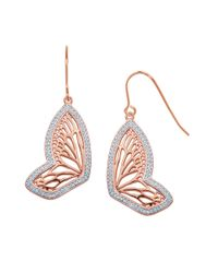 Lord & Taylor | Metallic Butterfly 18K Rose Gold Plated Drop Earrings | Lyst
