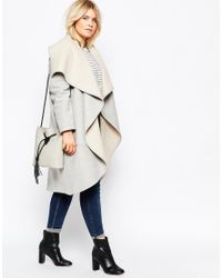ASOS | Gray Curve Oversized Waterfall Coat | Lyst