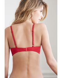 Forever 21 - Red Lace-paneled Light Push-up Bra - Lyst